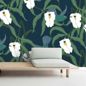 Papier peint oiseaux, végétaux et floral
